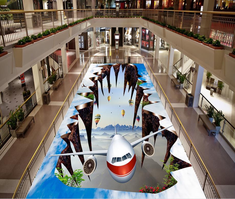 Ciel mouche 3D papier peint sol pour salon personnalisé Photo auto-adhésif 3D étage PVC imperméable à l'eau sol 3d fllor papier
