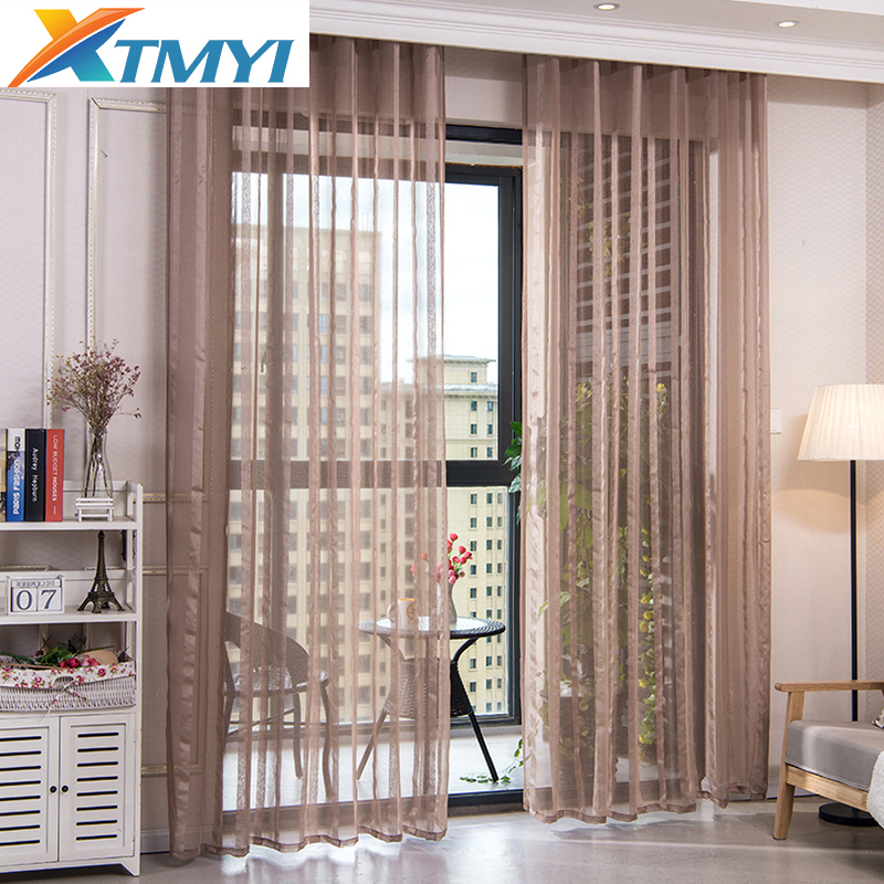 Modern Window Tulle Curtains For Living Room Voile Brown Striped Curtains For Bedroom Custom Drapes