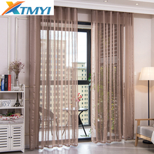 Modern window Tulle Curtains for Living Room Voile brown Striped Bedroom Custom Drapes