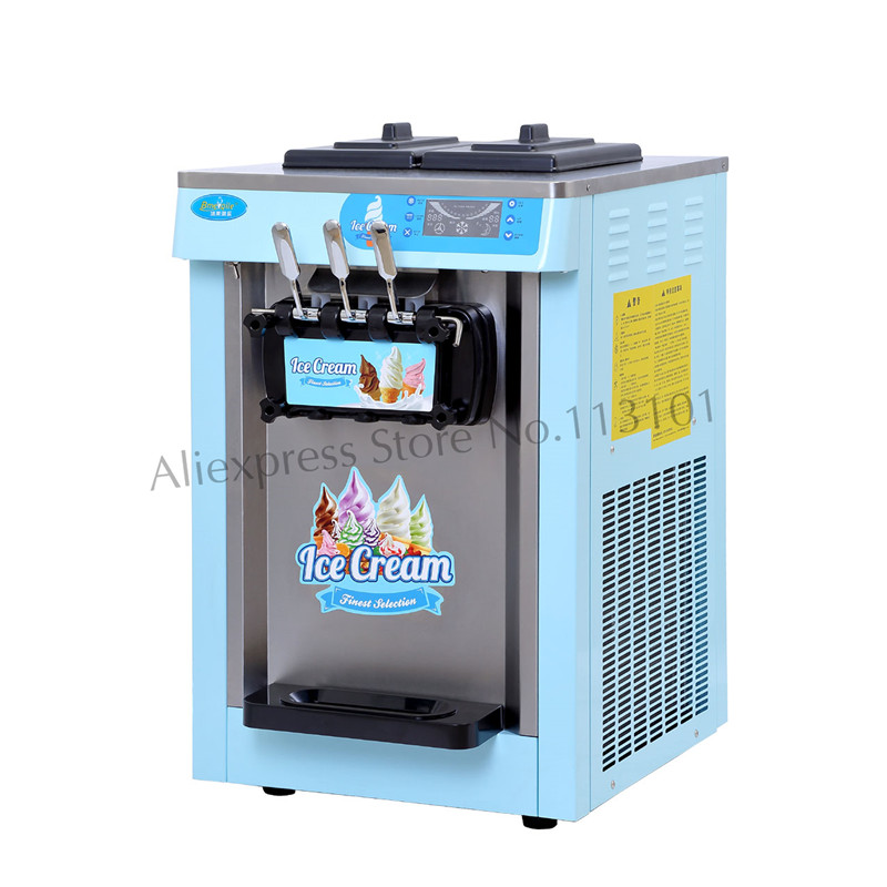 Desktop Ice Cream Machine Colorful Soft Serve Ice Cream Maker 20L/H Leisure Food Device 3 Heads desktop soft ice cream machine stainless steel soft serve maker 220v with digital control ice cream cone 22 25liters h capacity