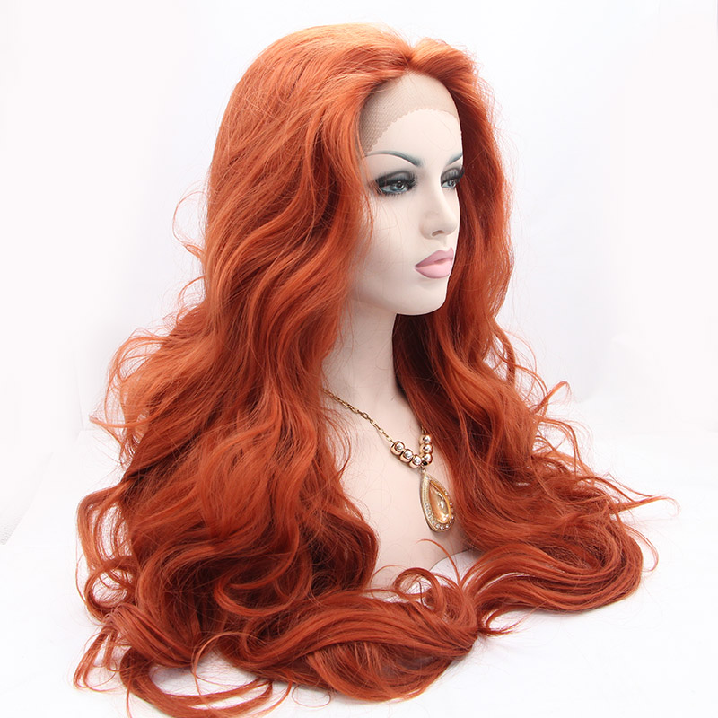 Sf3 Cheap Extra Long Wine Red Synthetic Lace Front Wig