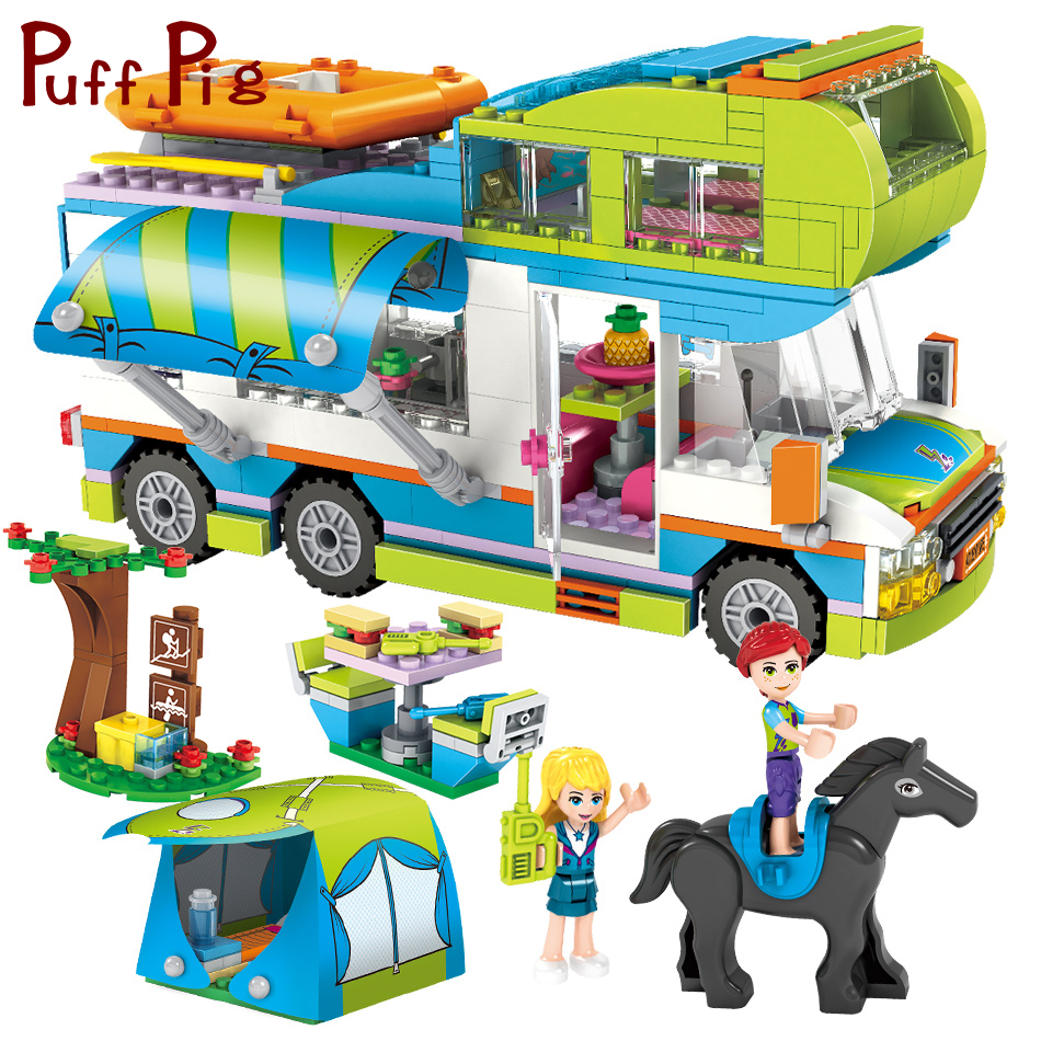 цена 534PCS Mia's Camper Van The Motorhome Building Blocks Compatible Legoed Friends House Figures City Bricks Toys For Kids Girls