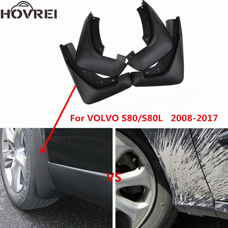 4PCS SET Car Mudflaps Splash Guards Fender Mudguard For Volvo S80 S80L 2008 2009 2010 2011