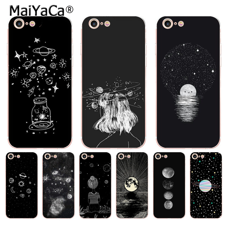 Phone Bags & Cases Half-wrapped Case Kasonpai Universe Serise Stars Phone Case For Iphone 6 6s 7 8 Plus X Cool Space Planet Moon Sun Scenery Hard Cute Back Cover Buy One Get One Free