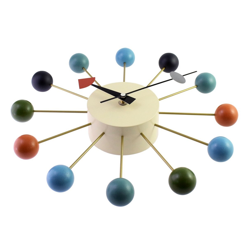 Simple Colorful Ball Modern Clock Art Simulation Sport Decorative Candy Wall Clock Mixed Color Metal + Solid Wood Ball