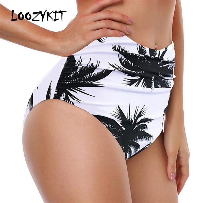 083246ab6d Loozykit Women Swimwear Bikini Bottoms High Waist Plus Size Swim Shorts  2019 Summer Hawaii Beachwear For