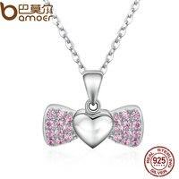 BAMOER 100 925 Sterling Silver Sweet Heart Bowknot Pink Crystal Pendants Necklace For Women Fine Jewelry