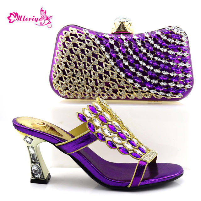 0857-purple Wedding Newest Design Decorated with Rhinestone Matching Italian Shoes and Bag Platform Nigerian Shoe with Bag Set