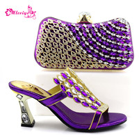 0857 purple Wedding Newest Design Decorated with Rhinestone Matching Italian Shoes and Bag Platform Nigerian Shoe with Bag Set