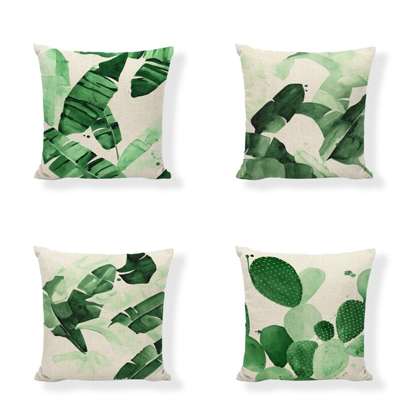 Throw Pillow Cover Green Fern Leaf Cotton Linen Home Decor Throw Pillow Case Cushion Cover 18 X 18 Inches Set Of 4 Cushion Cover Aliexpress