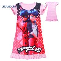 Cartoon Miraculous Ladybug Cosplay Costumes Kids Girls Dress Short Sleeve T Shirts Tops Children Summer Dress