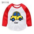 Children Clothing Cartoon Cars Printed T-shirt, Casual Korean Letter Long Sleeve Top Tees, Fashion O-neck Bottoming Shirt Spring