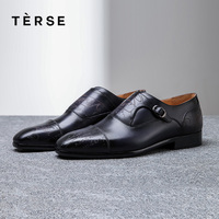 TERSE_Wholesale price handmade leather monk shoes luxury dress shoes men goodyear welted 3 colors engraving footwear 1516 3