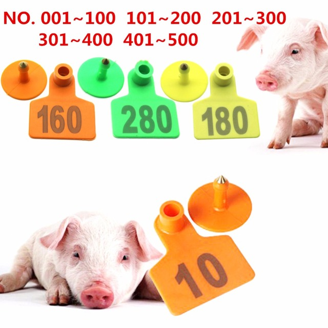 Pig ear signage No. 001-500 Copper head earrings Pig equipment Animal Identification cards Free shipping