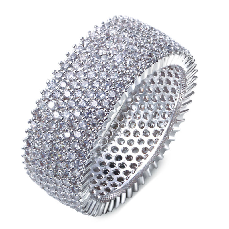 Thick Style Wedding Band Jewelry Ring Round Shape Micro Pave Aaa
