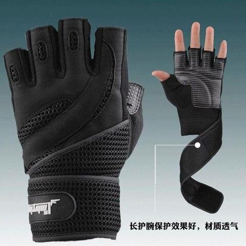 Men Body Building Brand Fitness Gloves Equipment Weight lifting Luvas Non-slip breathable Long Wrist Wrap Black Brown Mittens Pakistan