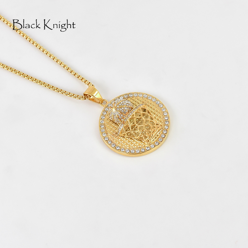 Black Knight Basketball net necklace Gold color Full crystals stainless steel basketball medal necklace for men sports BLKN0431 in Pendant Necklaces from Jewelry Accessories