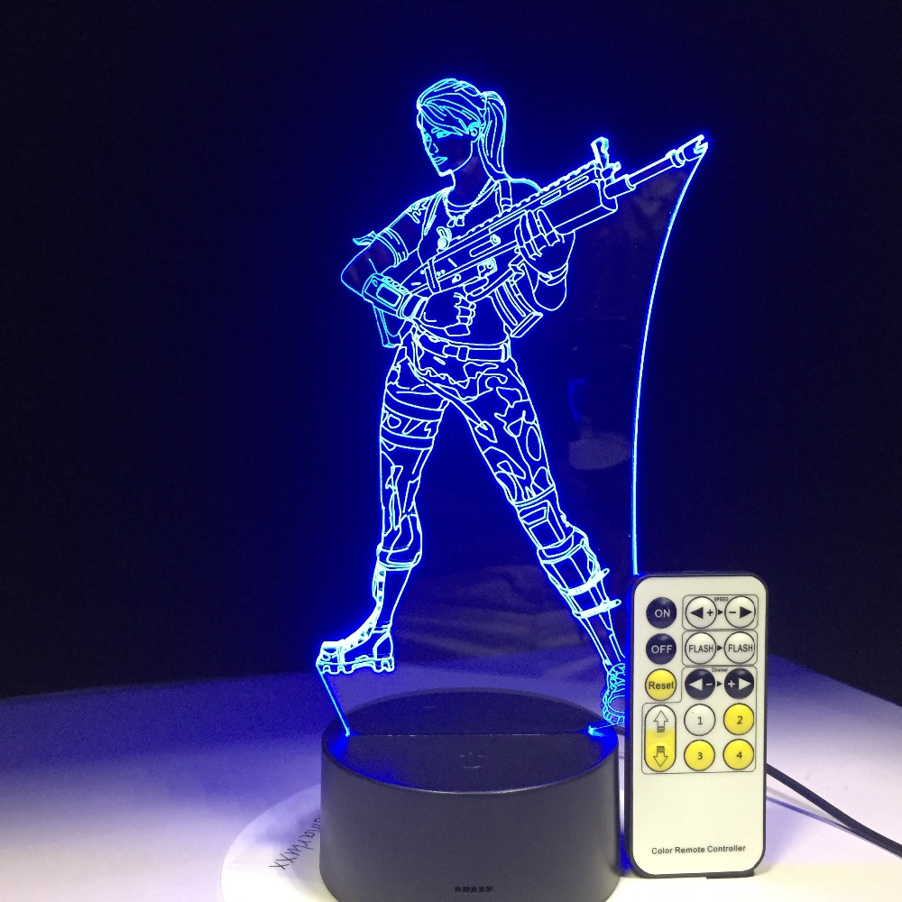 fortnite battle royale llama rocket launcher scar 3d night light led lamp with 7 colors change touch remote control - fortnite remote rocket