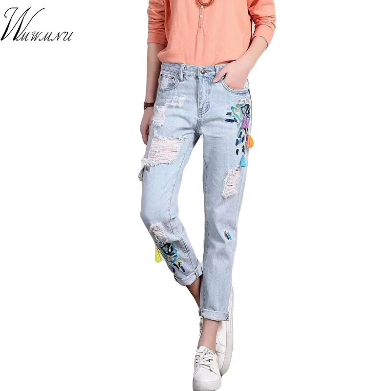 Wmwmnu Flower embroidery jeans female Light blue casual pants capris 2017 Spring and summer Pockets straight jeans women bottom flower embroidery jeans female white casual pants capris spring summer pockets straight jeans women bottom pu patchwork trousers