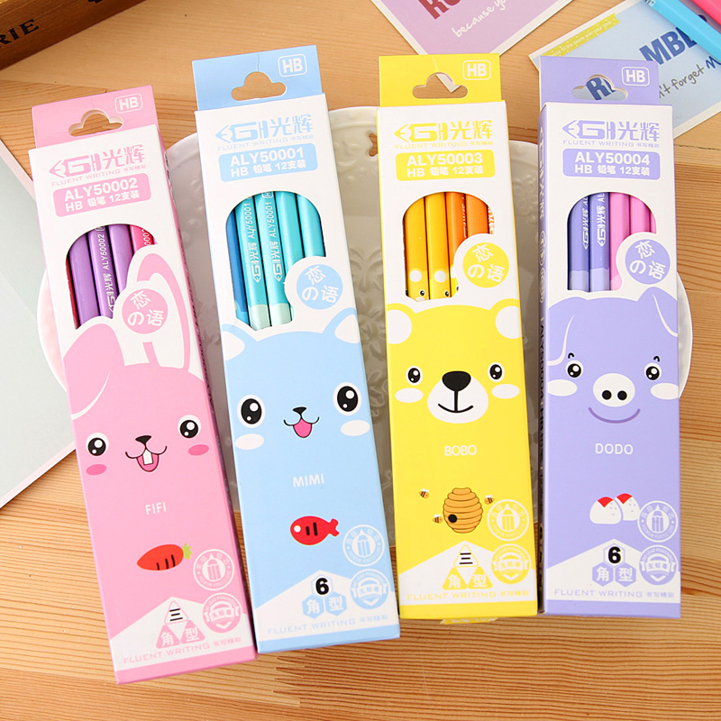 Us 4 21 14 Off Stationery Animal Fresh Hb Black Core Pencil Child 12pcs Pack Free Shipping In Standard Pencils From Office School Supplies On