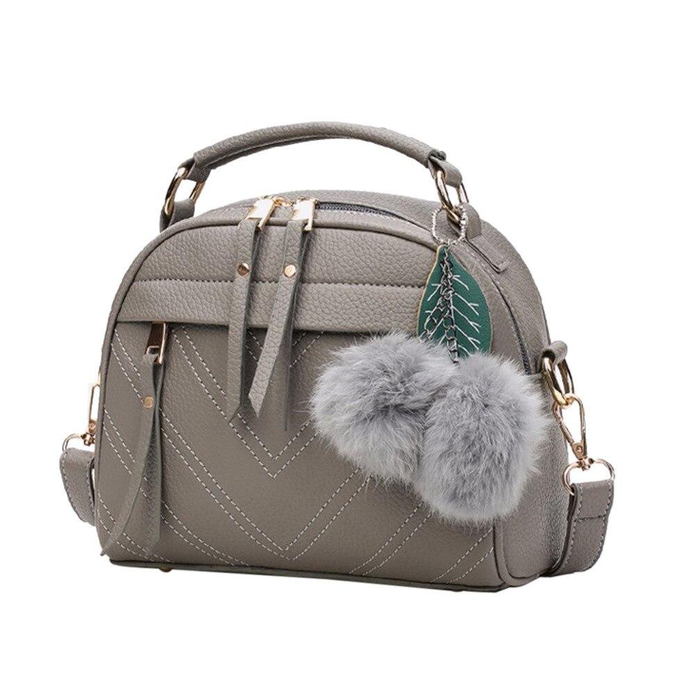 Cuero de la PU de moda bolso para las mujeres 2018 nueva chica bolsas de mensajero con bola de juguete Bolsa mujer bolsos de hombro señoras parte bolsos