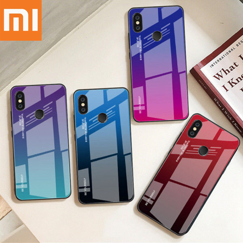 Gradient Tempered Glass Case For Xiaomi Redmi Note 7 5 6 Pro Pocophone F1 Mi8 Mi A2 Lite 6X 5X A1 Mi9 SE Cover Protective Fundas