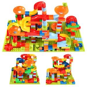 Image 1 - 165 330 stücke Kleine Größe Marmor Rennen Run Stadt Blöcke Track Bausteine ABS Trichter Rutsche Montieren Ziegel Spielzeug für Kinder