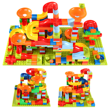 165 330pcs Small Size Marble Race Run City Blocks Track Building Blocks ABS Funnel Slide Assemble Bricks Toys For Children