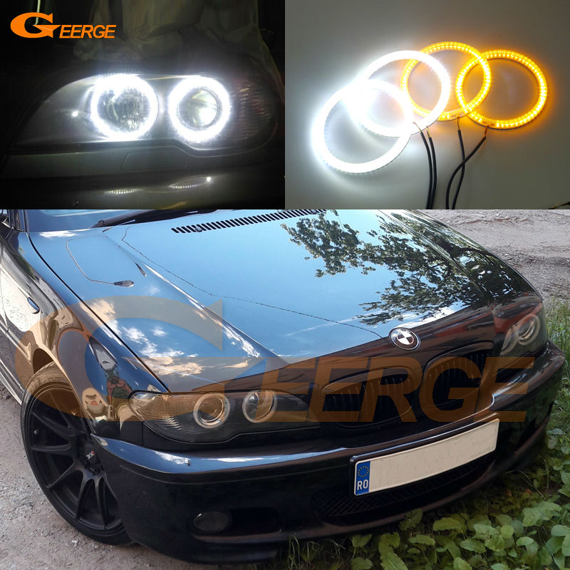 For BMW 3 Series E46 325ci 330ci Coupe Cabrio 2004 2005 2006 LCI Ultra bright Dual Color Switchback smd LED Angel Eyes kit 10000k pure white 3014 smd led angel eyes halo ring lighting kit for 2004 2006 bmw e46 3 series 325ci 330ci lci coupe