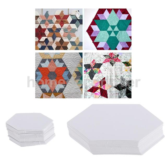 100 unidades hexágono forma papel acolchado plantillas patchwork ...