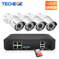 Techege HD 1080P 4Channel CCTV System 2MP Metal Outdoor IP Camera 4CH 1080P POE 15V NVR CCTV Kit P2P Email Alarm Video Cameras