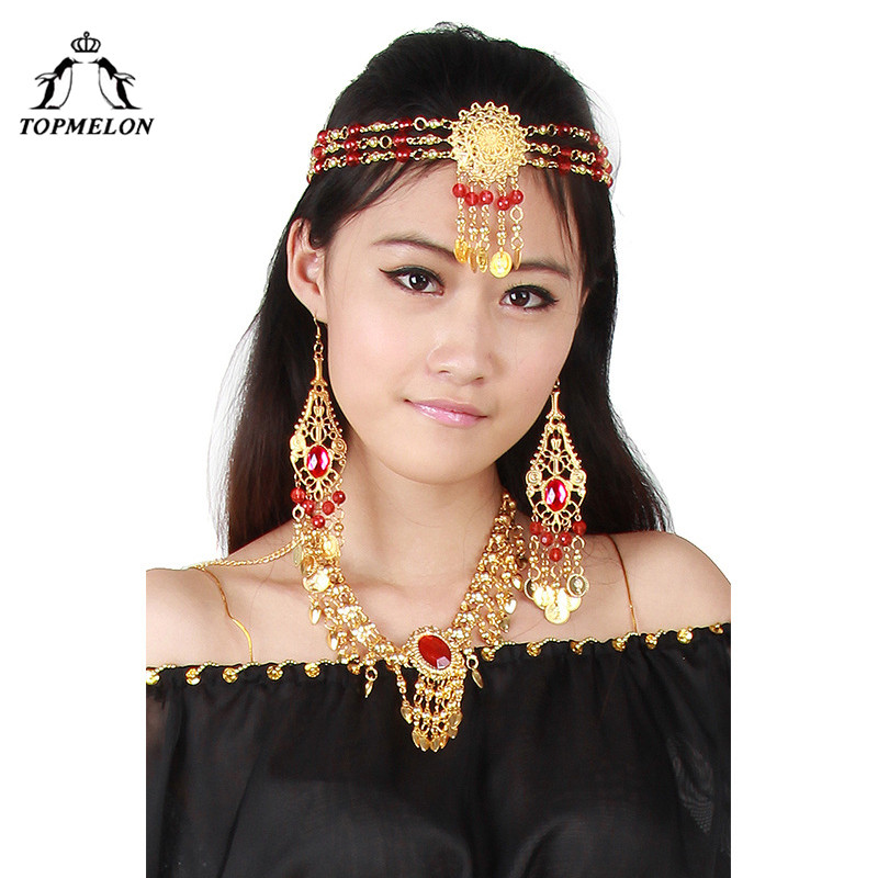 TOPMELON Indian Jewelry for Belly Dance Earrings Necklace Bracelet Head Wear Bollywood Egypt Style Carnaval Dancewaer