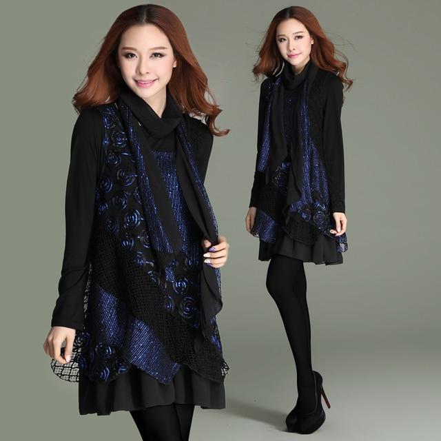 Plus size kleding lente 2014 losse netto stof patchwork losse big size een stuk dress