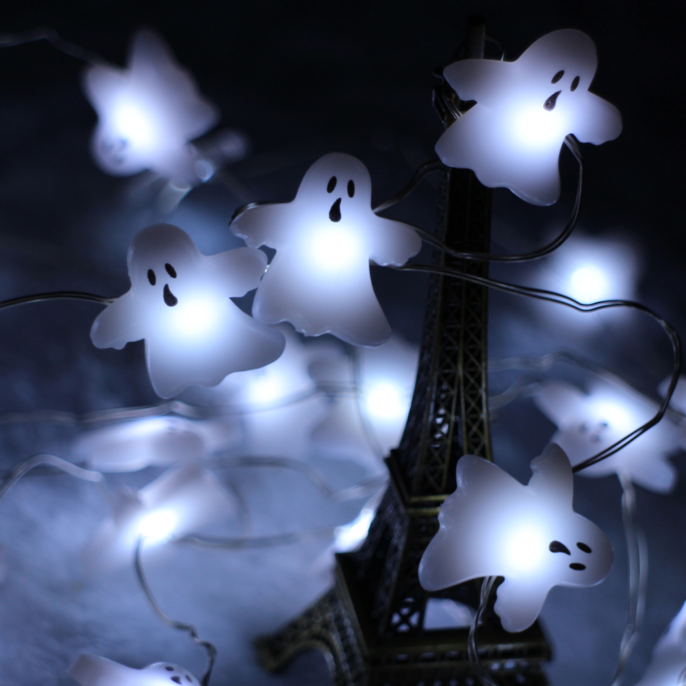 Battery Operated 3M 10FT 40LED Skull Ghost Shaped LED String Lights Decoration Halloween Indoor Outdoor Lights with Remote