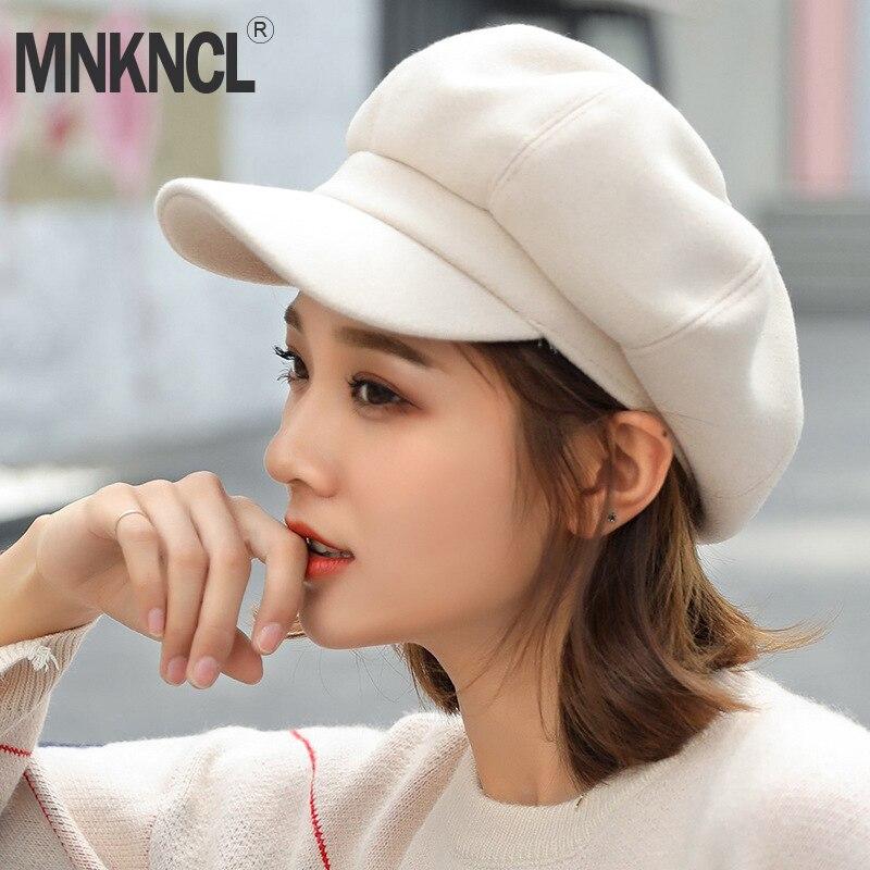 MNKNCL lana boina Otoño Invierno tapa octogonal sombreros elegante artista  pintor vendedor tapas caliente boina sombreros a821c3b0775