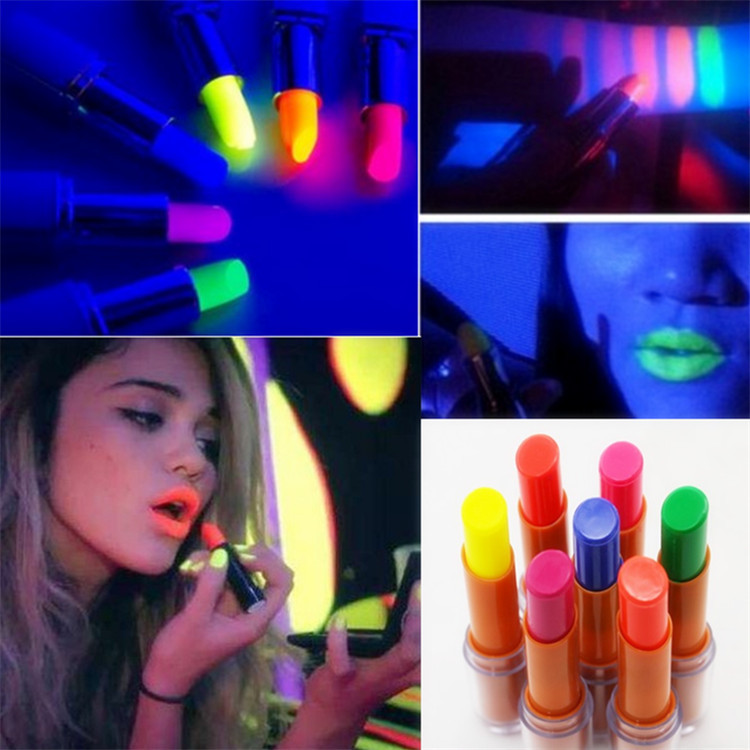 Hot 6 Colors Noctilucent Lipsticks Makeup Shiny Available Glow In The Dark Party Fluorescent Luminous Lip Stick Beauty Cosmetics
