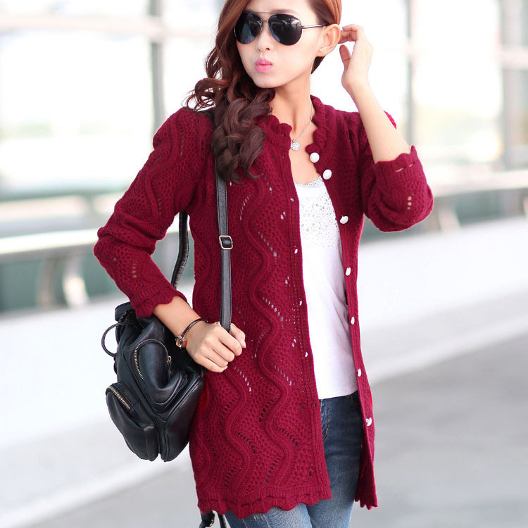 Winter Sweater Women Long Sleeve Hollow Knitted Wool Long Cardigan ...