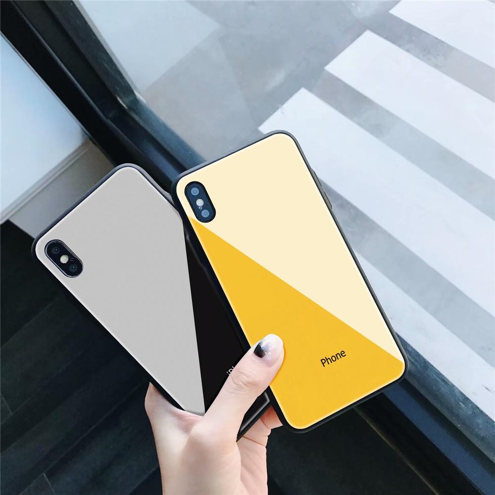 Casos de Telefone de luxo vidro Temperado para o iphone X XS XR XSMAX doces Popular tampa Traseira Para O iphone 7 Plus 5 5S SE 6 6 S 7 8 Plus