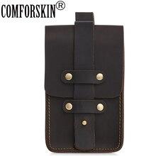 COMFORSKIN New Arrivals Mens Leather Bag Hot Brand Designer Crazy Horse Vintage Style Male Waist Packs High Quality