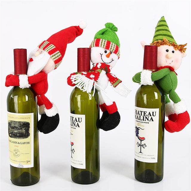 christmas bottle decoration red wine bottle cover wine bottle bag for xmas dinner table decorations - Christmas Bottle Decorations