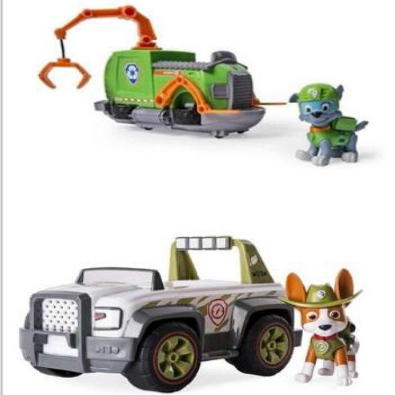 Genuíno original pata patrulha rastreador rocky zuma ryder filhote de cachorro la patrulla canina brinquedo do veículo carro cão patrulha canina brinquedo caixa original