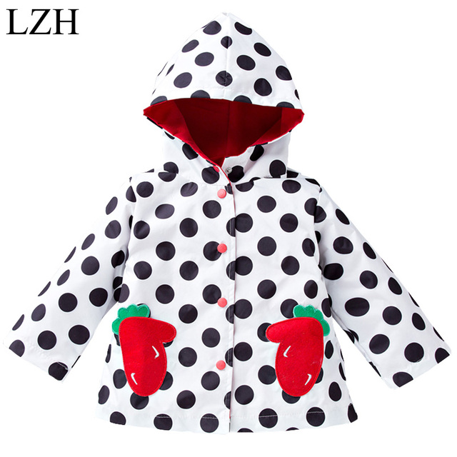 2017 Spring Raincoat Coat Girls Jacket Lovely Apple Strawberry Embroidered Kids Outerwear Coat Boys Coat Jacket Children Clothes
