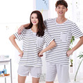 2Piece Set Couple Striped Pajama Sets Plus Size Cotton Nightgown Short Sleeve Men's Sleep&Lounge Sleepwear Casual  Sets