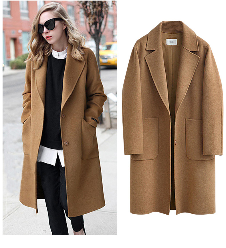 Ladies's New Trend Autumn And Winter Free Woolen Coats And Trenches With Lengthy Sleeves