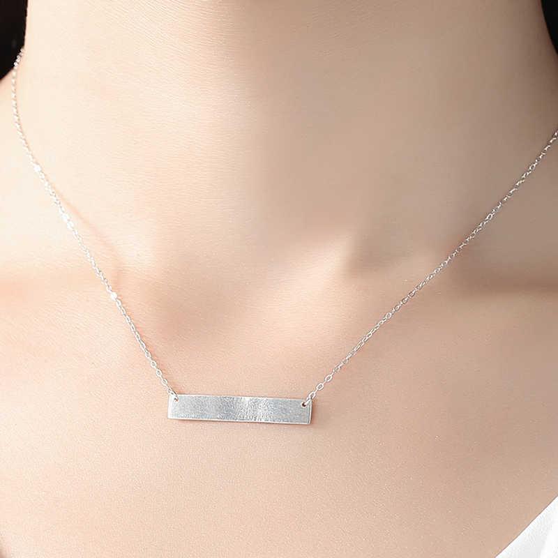 ELESHE DIY выгравированное имя индивидуальные подвески для ожерелья 925 серебро бар ожерелье для женщин мужчин модные ювелирные изделия