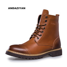 2017 Fashion British Classic Leather Men Boots Men Oxfords Martin Shoes Winter Warm Fur Casual Ankle Boots Waterproof Botas