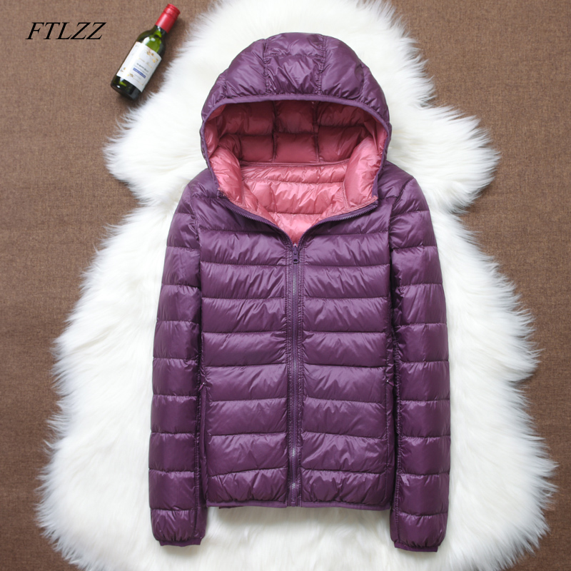 FTLZZ 2019 New Women Ultra Light Down Jacket Casual Double Side Reversible Coats Plus Size 4XL With Portable Bag Female Outwear