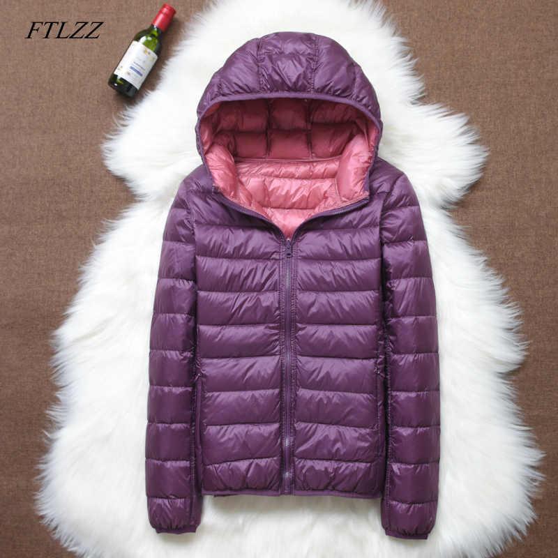 FTLZZ 2019 nowych kobiet ultralekka kurtka puchowa Casual dwustronnie odwracalne płaszcze Plus rozmiar 4XL z przenośna torba kobiet znosić