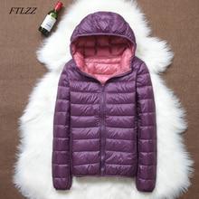 FTLZZ Chaqueta ultraligera informal Reversible para mujer, abrigos de talla grande 4XL, con bolsa portátil, prendas de vestir femeninas