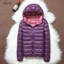 Ftlzz 새로운 여성 울트라 라이트 다운 재킷 캐주얼 더블 사이드 가역 코트 플러스 크기 4xl 휴대용 가방 여성 outwear